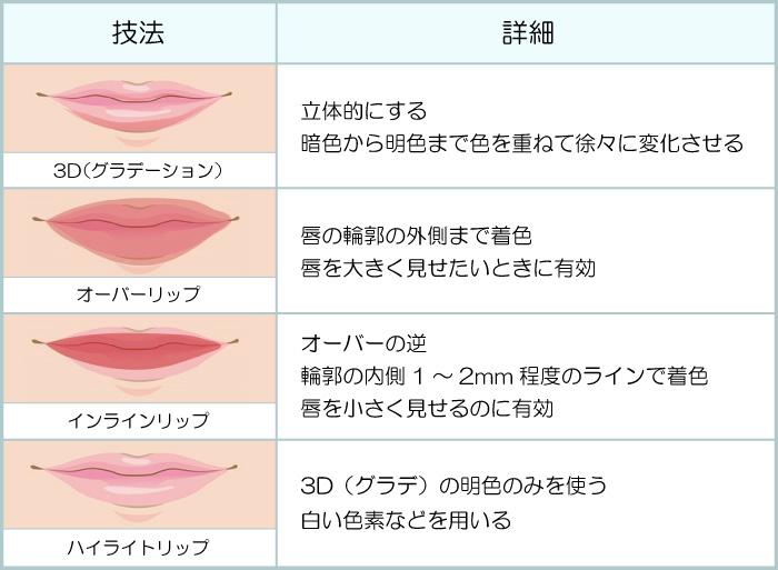 3D(グラデーション):立体的にする。暗色から明色まで色を重ねて徐々に変化させる、オーバーリップ:唇の輪郭の外側まで着色。唇を大きく見せたいときに有効、インラインリップ:オーバーの逆。輪郭の内側1~2mm程度のラインで着色。唇を小さく見せるのに有効、ハイライトリップ:3D(グラデ)の明色のみを使う。白い色素などを用いる