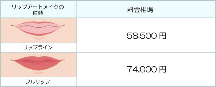 リップライン:58500円、フルリップ:74000円